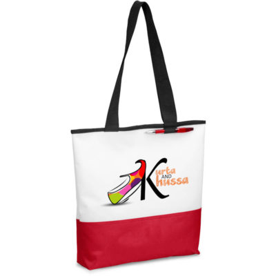 The Miramar Conference Tote is a white 600D fabric shoulder bag, with one main compartment, lengthy black carry straps, a pen loop on the front and a bright red panel insert along the base of the bag