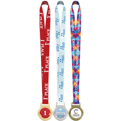 The Achiever Medal is a round zinc alloy pendant attached to a satin plain white but fully brandable lanyard