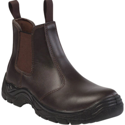 The Barron Chelsea Safety Boot is a brown genuine leather and PU safety boot with oil and resistant resistant sole, shock absorbent qualities, anti static removable inner sole, a steel toe cap and can withstand heat of up to 90 degrees