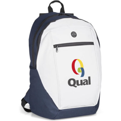 The Apollo Backpack is a 600D white and navy back pack with padded adjustable shoulder straps, three zippered storage compartments, an earphone loop to thread cables through and a top carry handle