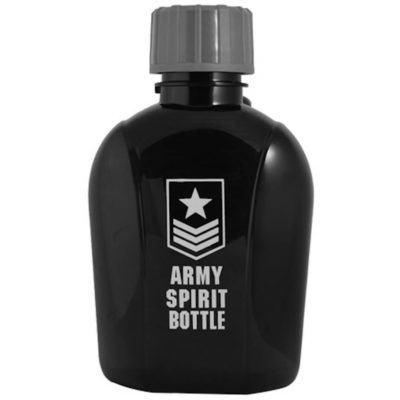 The black Army Spirit Bottle is made from a BPA free plastic with a inner rubber seal, a screw off lid and can hold 500ml.