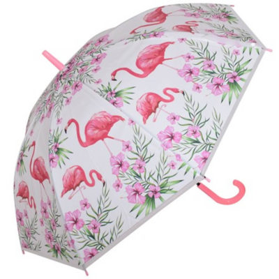 The Kids Dome Flamingo 8-Panel Umbrella has flowers and flamingo prints on the panels and has a pink PP handle.