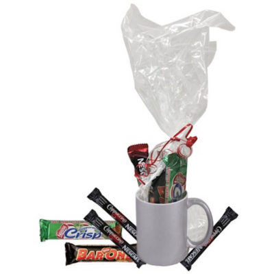 The Metallic Silver Mug Hamper contains a grade A ceramic mug with a glitter coating, cappuccino sachets, peppermint crisp and a Nestle Bar-One