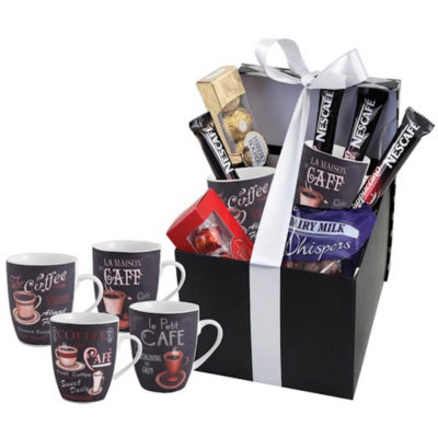 The Coffee Lovers Hamper Includes 4 x 330ml coffee mugs, 1 x packet of whispers, 1 x Ferrero Rocher box, 1 x Lindt Lindor box and 4 x cappuccino sachets