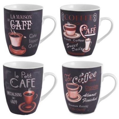 The Coffee Lovers 4-Piece Mug Set contains 4 x 330ml charcoal black-cream ceramic mugs with a different pattern.