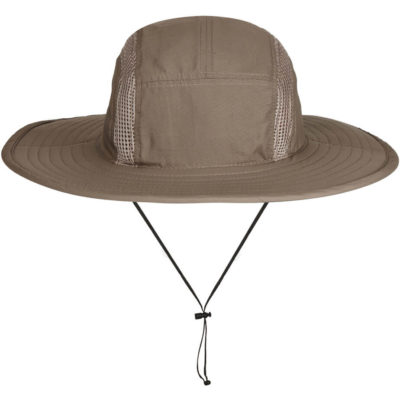 The Weatherman Hat is wind/water resistant with breathable mesh on the 6 panel crown of the cap and elastic head fastener with slide toggle.