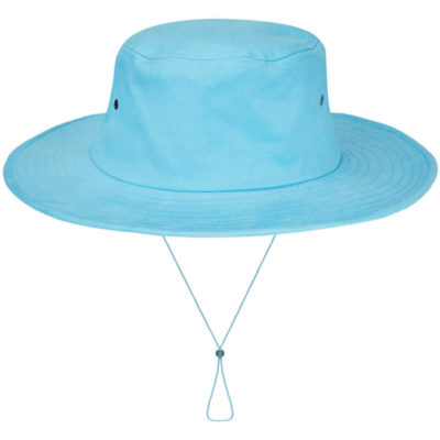 The powder blue Cricket Hat is made from 100% heavy brushed cotton with metal eyelets and a cord with a slide toggle.