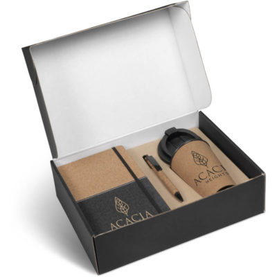 The Sienna Cork Gift Set contains a cork and thermo PU notebook with a ribbon bookmark, elastic closure and 160 lined pages, a cork barrel ball point pen, PU clip,tip and trim and contains black German ink and a cork tumbler with a PU removable lid and 360ml capacity
