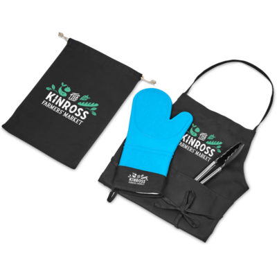 The Bistro Chef Set is an outdoor cooking set that includes a black 220gsm polycotton twill apron with a neck strap and front pocket, a brightly coloured cyan silicone glove, stainless steel serving and cooking tongs with ABS handles and grips and a black 220gsm cotton black drawstring pouch