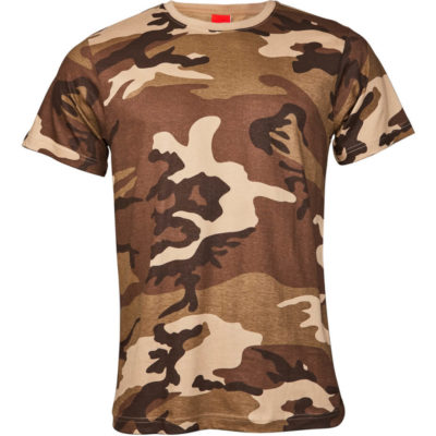 The Classic Camo T-Shirt in the colour brown camo is made from 100% 165gsm combed cotton with side seams, double stitched hem on waistline & sleeves and a taped shoulder & neckline.