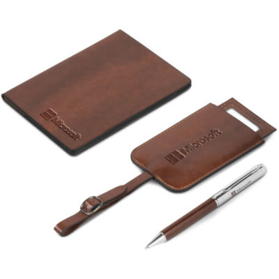 The Fabrizio Travel Gift Set contains a simulated leather passport holder, a simulated leather luggage tag and a ball point pen with black German ink.