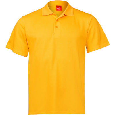The Kids Golfer in the colour yellow is made from a polycotton pique knit material with side seams, a 3 button placket, and double stitched hem on waistline & sleeves.