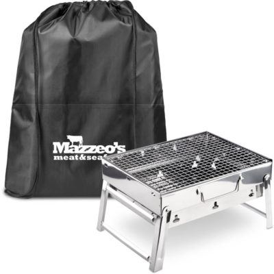 The Bosveld BBQ Set includes a portable stainless steel braai with foldable legs, a coal tray and removable, with a black 210D fabric drawstring bag lined with aluminum foil