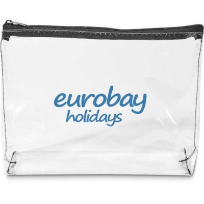 The Hopkins PVC Large Pouch is a rectangular transparent PVC pouch with black nylon zip closure