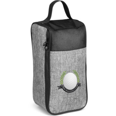 The Gary Player Erinvale Shoe Bag is a grey 600D linen polyester bag with one large main storage compartment, zip closure, top carry handle and black panel insert and trim detail