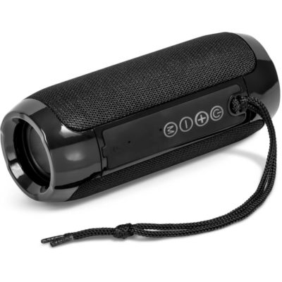 The Blast Bluetooth Speaker & Fm Radio is a black ABS tube shaped speaker that connects to Bluetooth audio devices, supports call pick up, has a TF card function, and internal rechargeable lithium ion battery and a black nylon wristband cord