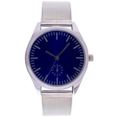 The Plexus Watch is an elegant wrist watch with a round blue metal face, minute and hour interval marking, silver trim and a silver adjustable wrist strap