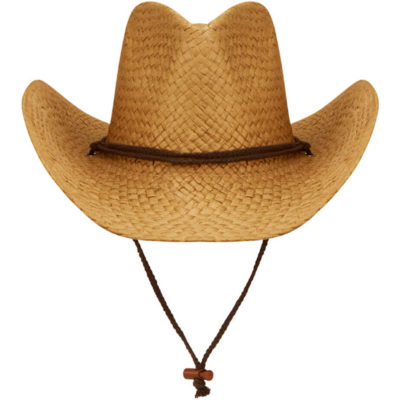 The Cowboy Hat is made from woven straw with a wide curved brim.