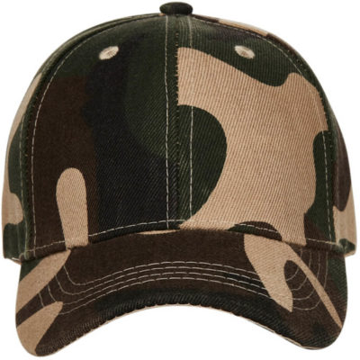 The Kids Americano Camo Cap is manufactured from a fade resistant heavy acrylic material, in a green camo colour.
