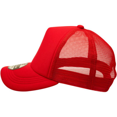 The Vintage Trucker Cap in the colour red has a hard mesh back and a pre-curved peak with a foam front