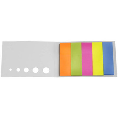 The Sticky-Memo Pocket Pad in white includes orange, pink, yellow, green and peach colour sticky tags.