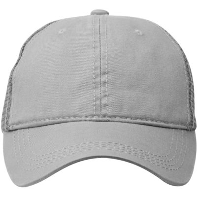 The Urban Trucker Cap in the colour grey is made from 100% cotton with a soft mesh back, a cotton sweatband, a pre-curved peak and embroidered eyelets.