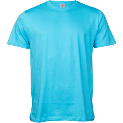 The Kids Unisex Promo T-Shirt in the colour powder blue has a double stitched hem on the waistline & sleeves, made from 100% carded cotton.