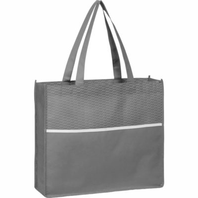 The Brighton Non-Woven Shopper is made from non-woven fabric in a grey colour with an extra large main compartment, lengthy carry straps and a contrasting white insert through the middle of the bag.