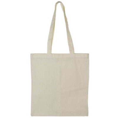 The 140g Cotton Tote Bag is made from 100% cotton, with a large main compartment and two lengthy shoulder straps