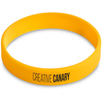 This yellow Fitwise Silicone Kids Wristband is made from silicone.