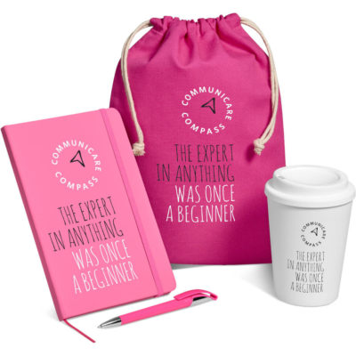 The Flojo Gift Set in matching pink includes a 350ml double-wall tumbler, a A5 notebook with 128 lined pages, a ballpoint pen with black German ink and a drawstring cotton pouch.