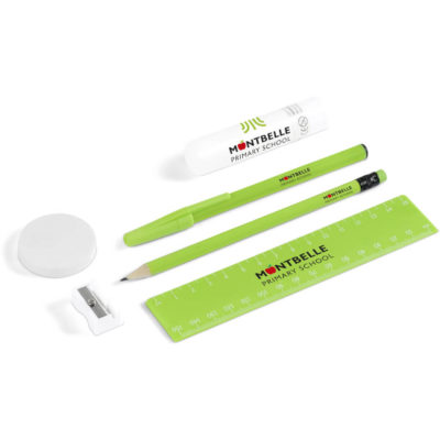 The Faculty Stationery Set is a lime green stationery set and includes a plastic ball point pen with black ink and a removable cap, a sharpened linden wood pencil with an eraser tip, a 15cm reuler with white mm and cm measurement markings, a white PS & steel sharpener, a white flat round synthetic rubber eraser and a turn up PVP glue stick with a protective casing. Packaged in a transparent PVC pouch with a zip lock closure