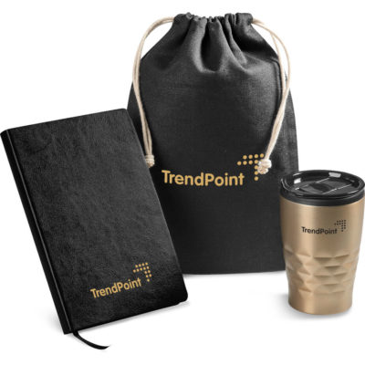 The gold Circa Gift Set has a cotton drawstring pouch, a A5 notebook with 308 lined pages and a 350ml tumbler with a stainless steel outer & PP liner.