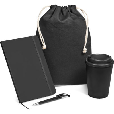 The Flojo Gift Set in matching black includes a 350ml double-wall tumbler, a A5 notebook with 128 lined pages, a ballpoint pen with black German ink and a drawstring cotton pouch.