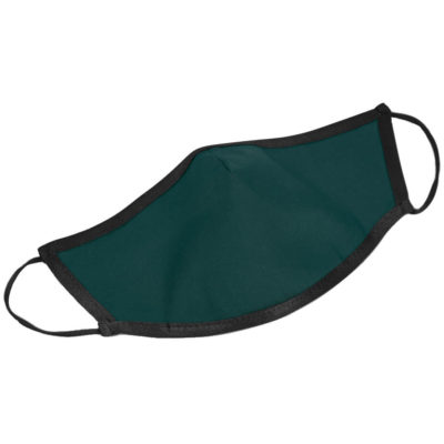 The Iona Adults Double-Layer Ear Loop Face Mask is a dark green poly cotton twill and polyester face mask in a cone shape with elastic ear loops