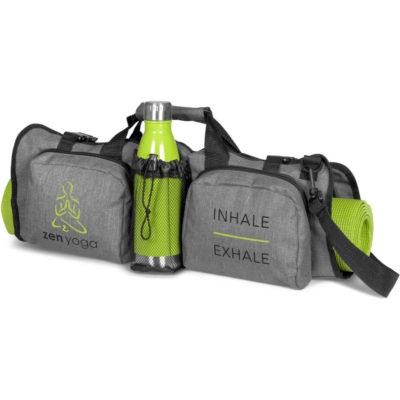The Extender Yoga Bag has a adjustable, removable shoulder strap with zip pockets and a carry handle.