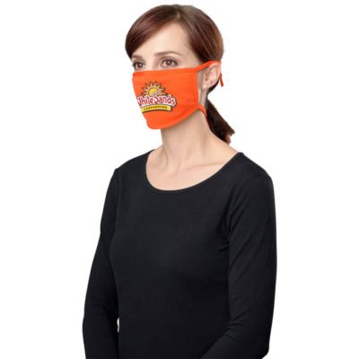 The Genre Comfort Face Mask is a 100% polyester orange face mask with tie-back strings designed to protect your nose and mouth and the strings can be tied around your head for comfort while wearing it