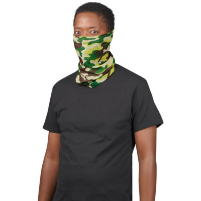 The Adults Camo Flexi Tubular Bandana is a camo print 100% polyester protective headwear item designed to cover your nose and mouth. It can also be used as a armband, headband, hairtie, bandana, beanie and more. With moisture wicking, wind-resistant, breathable and quick drying properties