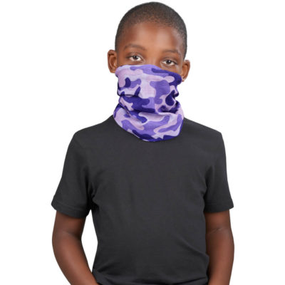 The Kids Camo Flexi Tubular Bandana is a camo print 100% polyester protective headwear item designed to cover your nose and mouth. It can also be used as a armband, headband, hairtie, bandana, beanie and more. With moisture wicking, wind-resistant, breathable and quick drying properties