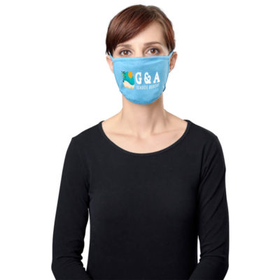 The Legacy Comfort Face Mask is a light blue 100% polyester double layer face mask with tie-back strings to secure the mask around your head