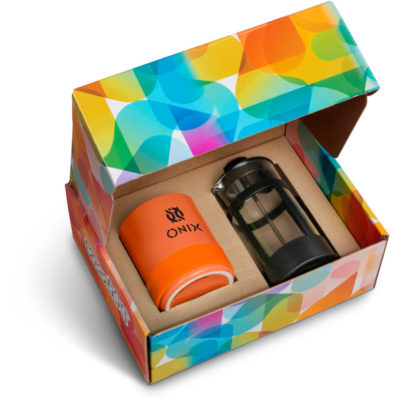 The Kooshty Mixalot Match Koffee Set contains an orange A-grade ceramic 320ml mug with handle and silicone cone and a 350ml borosilicate glass coffee plunger with a black PP frame and handle. Packaged in a brightly coloured pre-branded Kooshty gift box