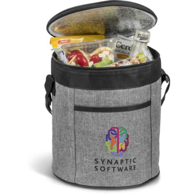 The Blackstone 14-Can Barrel Cooler is a grey 600D poly canvas barrel shaped cooler bag with black trim detail and has a large storage compartment lined with aluminum foil, an all round zippered closure, front slip pouch and a lengthy adjustable shoulder strap
