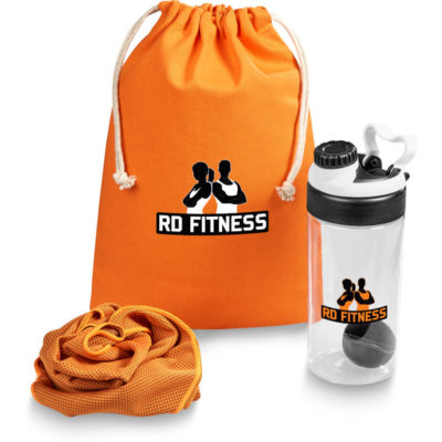The Session Active Set contains a orange 220gsm cotton drawstring bag, a matching colour 100% polyester sports towel designed to maintain moisture and cools to 15 degrees below ambient temperature, and a transparent water bottle protein shaker with a 700ml capacity, removable lid, protective flip cap drinking nozzle and a removable shaker ball