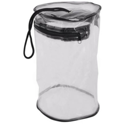 The PVC Hamper Tube is an upright transparent tube shaped bag with black piping detail, black zippered closure and black carry string