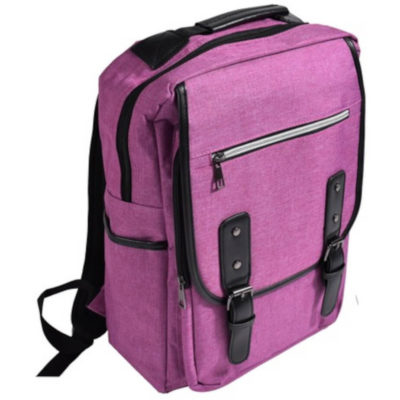 """The Heritage Laptop Backpack is a pink and black 900D padded backpack with a 15.6"""" laptop ocmpartment lined with inner suuports, a front zippered pouch, a front compartment with plastic clip closure, two side mesh pockets and padded/adjustable shoulder straps, all with black trim detail"""