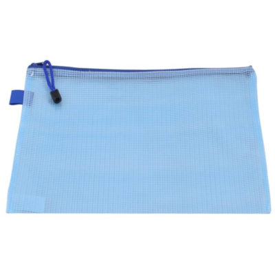 The PVC Mesh Document Holder is a frsoted blue PVc pouch designed to store A4 sized documents, with one main compartment and zip closure with zip puller and a small hanging loop