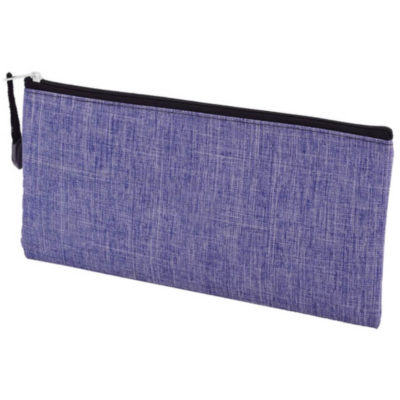 The Denim Pencil Case is a blue denim melange rectangular pencil case with one main compartment and zip closure and zip puller
