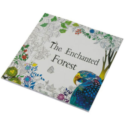 The Adult Colouring Book is a square colouring in book with 24 intricate designs to add colour to in various designs and an enchanted forest themed front cover
