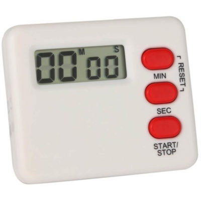 The Countup and Countdown Timer is a white plastic kitchenware item with a minute, second and start/stop button and a small LCD display. Designed to count down minutes or seconds and will beep when the timer reaches zero