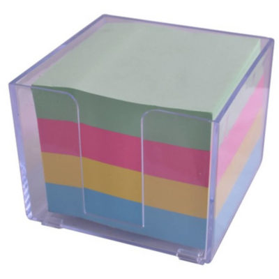 The Sticky Memo Paper Holder is a square transparent plastic holder with sheets of pastel coloured green, pink, yellow and blue memo paper